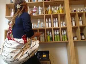 "Me pursuing the selection at ""Rosehip"" an organic beauty store in Sophia"